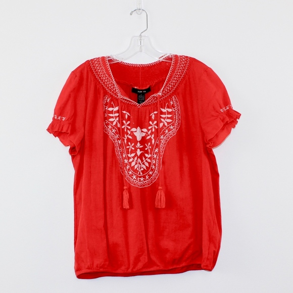Style & Co Women's Embroidered Peasant Top Large L